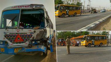 दिल्ली-जयपुर हाईवे पर रफ्तार का कहर, स्कूल बस-प्राइवेट बस की टक्कर में 25 बच्चे घायल