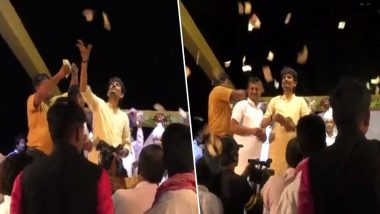 गुजरात में कांग्रेस विधायक अल्पेश ठाकुर ने मंच से जमकर उड़ाए नोट, वीडियो वायरल