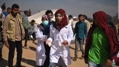 गाजा हिंसा : इजरायली हमले में मारी गई नर्स के जनाजे में हजारों की संख्या में शामिल हुए लोग