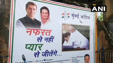 मुंबई: कांग्रेस का पोस्टर वार, कहा नफरत से नहीं प्यार से जीतेंगे
