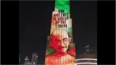 गांधी जी को श्रद्धांजलि देने के लिए तिरंगे में रंगा गया दुबई का बुर्ज खलीफा