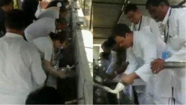VIDEO: राहुल गांधी और सोनिया गांधी ने सेवाग्राम आश्रम में खाने के बाद धोये जूठे बर्तन