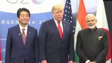 G-20 शिखर सम्मेलन: अमेरिकी राष्ट्रपति ट्रंप और जापान के PM शिंजो आबे से मिले प्रधानमंत्री मोदी, कहा-दोनों देशों से हमारा रिश्ता है बेहद खास