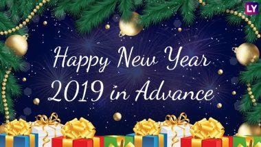 Happy New Year 2019 in Advance: न्यू ईयर विश करने के लिए न करें नए साल का इंतजार, इन शानदार WhatsApp Stickers, SMS और Facebook मैसेजेस के जरिए सबसे पहले दें शुभकामनाएं