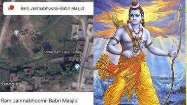 गूगल मैप का एक स्क्रीनशॉट बना चर्चा का विषय, जब 'अयोध्या' के स्थान पर दिखा 'मंदिर यहीं बनेगा'