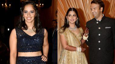 In Pics: शादी करने के महज कुछ घंटों बाद साइना नेहवाल ने अटेंड की ईशा और आनंद की रिसेप्शन पार्टी, दिखा ग्लैमरस लुक