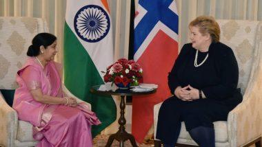 विदेश मंत्री सुषमा स्वराज ने नॉर्वे की प्रधानमंत्री एर्ना सोलबर्ग से की मुलाकात, अहम मुद्दों पर हुई चर्चा