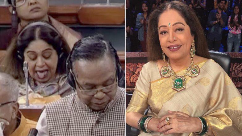 संसद में चर्चा के दौरान किरण खेर ने की अजीबोगरीब हरकत, ट्विटर पर लोगों ने कहा बैक-बेंचर