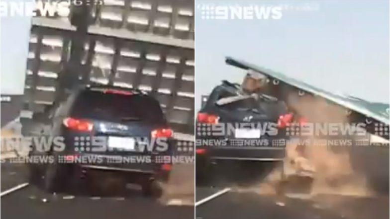VIDEO: हाईवे पर जा रही महिला के साथ हुआ खतरनाक हादसा, कार हो गई पूरी तरह डैमेज, फिर भी बच गई जान