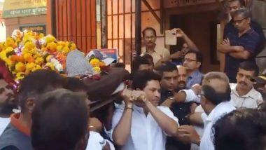 रमाकांत आचरेकर निधन: सच्चे शिष्य की तरह सचिन तेंदुलकर ने अपने गुरु की अर्थी को दिया कंधा, वीडियो हुआ वायरल