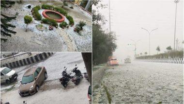 दिल्ली एनसीआर में हुई बर्फबारी? तेज बारिश के साथ गिरे ओलों को देखकर तो ऐसा ही लगेगा, देखें तस्वीरें