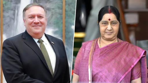 भारत और पाक के बीच बढ़ते तनाव पर अमेरिकी विदेश मंत्री माइक पोम्पियो ने सुषमा स्वराज से की वार्ता
