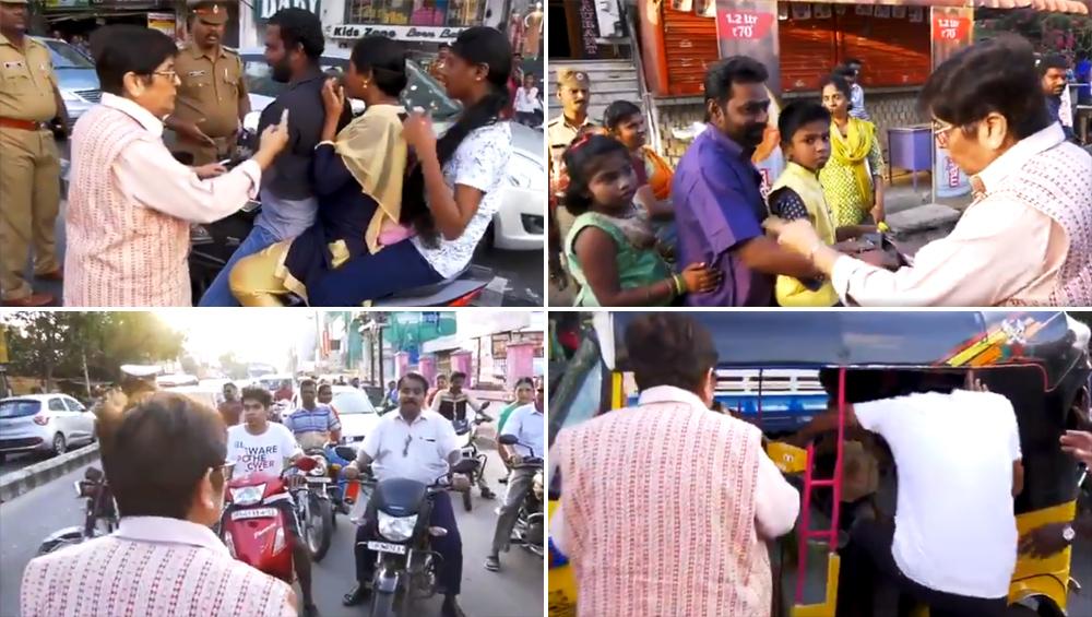 पुडुचेरी: जब किरण बेदी बन गईं ट्रैफिक पुलिस अधिकारी, बाइक चला रहे लोगों को रोककर पूछा- कहां है हेलमेट, देखें Video