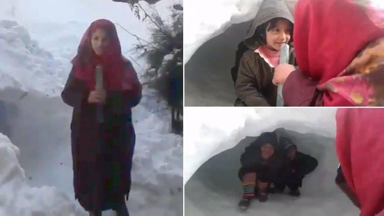 Viral Video: स्केल को माइक बनाकर रिपोर्टिंग करती नजर आई एक कश्मीरी लड़की, भारी बर्फबारी के बीच बताया मौसम का हाल
