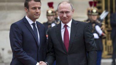 राष्ट्रपति व्लादिमीर पुतिन और इमैनुएल मैक्रों ने सीरियाई शांति प्रक्रिया पर समन्वय जारी रखने पर हुए सहमत