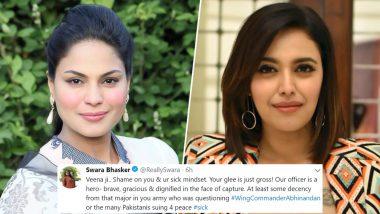 पाकिस्तानी एक्ट्रेस वीना मलिक का भारतीय पायलट को लेकर विवादित बयान, स्वरा भास्कर ने दिया मुंहतोड़ जवाब