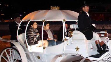 आकाश अंबानी और श्लोका मेहता की शाही सवारी में हुई एंट्री, देखें वीडियो