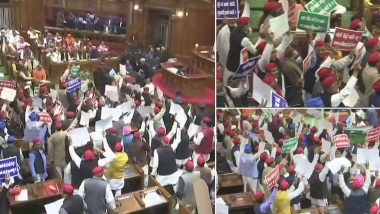 यूपी विधानसभा में जमकर हंगामा, एसपी-बीएसपी विधायकों ने राज्यपाल पर फेंके कागज के गोले, सांड को लेकर किया प्रदर्शन