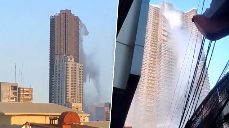 भूकंप के बाद बिल्डिंग की 53वीं मंजिल से निचे गिरने लगा स्विमिंग पूल का पानी, फिर जो हुआ देखें VIDEO
