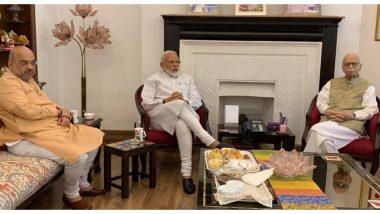 बीजेपी को मिली प्रचंड जीत के बाद लालकृष्ण आडवाणी से मिलने उनके घर पहुंचे पीएम मोदी और अमित शाह