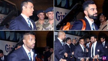 ICC Cricket World Cup 2019: भारतीय क्रिकेट कप्तान विराट कोहली, एमएस धोनी समेत अन्य खिलाड़ी मुंबई एयरपोर्ट से इंग्लैंड के लिए रवाना, देखें तस्वीरें और वीडियो