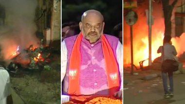 बंगाल में बढ़ा बवाल: अमित शाह के रोड शो में भिड़े BJP-TMC कार्यकर्ता, जमकर हुई पत्थरबाजी, गाड़ियों में लगाई आग