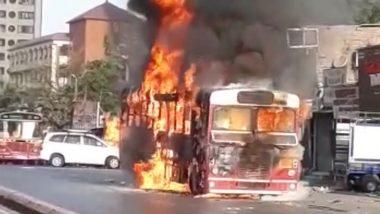 मुंबई में बड़ा हादसा टला: गोरेगांव में चलते-चलते BEST की बस में लगी भीषण आग, देखें VIDEO