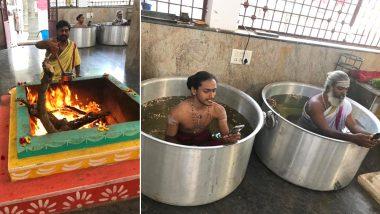 बेंगलुरु: अच्छी बारिश के लिए हालसुरु के सोमेश्वर मंदिर में रखी गई थी पूजा, पतीले में बैठकर पंडित जी चला रहे थे फोन, देखें तस्वीरें