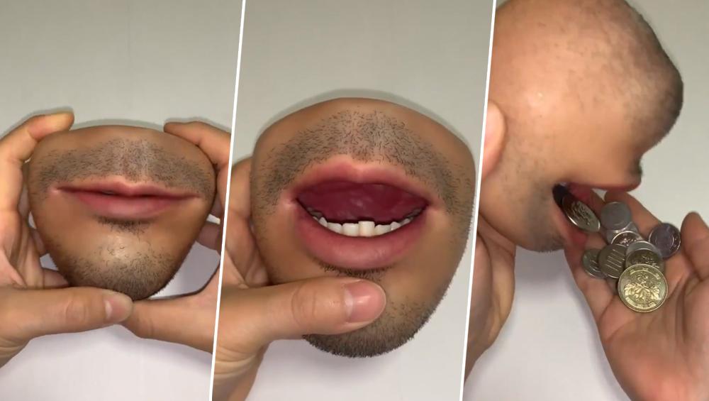 जापान: शख्स ने बनाया हुबहू इंसान के मुंह जैसा पर्स, वीडियो देख डर जाएंगे आप