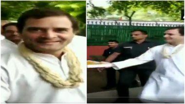 राहुल गांधी ने जन्मदिन के मौके पर कांग्रेस दफ्तर में मीडियाकर्मियों को खुद बांटी मिठाई, देखें Video