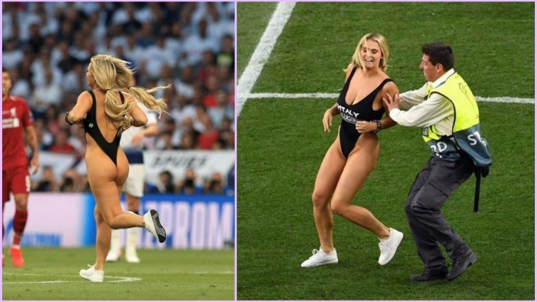 UEFA Champions League 2019 Final: बॉयफ्रेंड की 'XXX' पोर्न साइट को बढ़ावा देने के लिए बिकिनी पहनकर मैदान में घुसी रुसी मॉडल, देखें वीडियो
