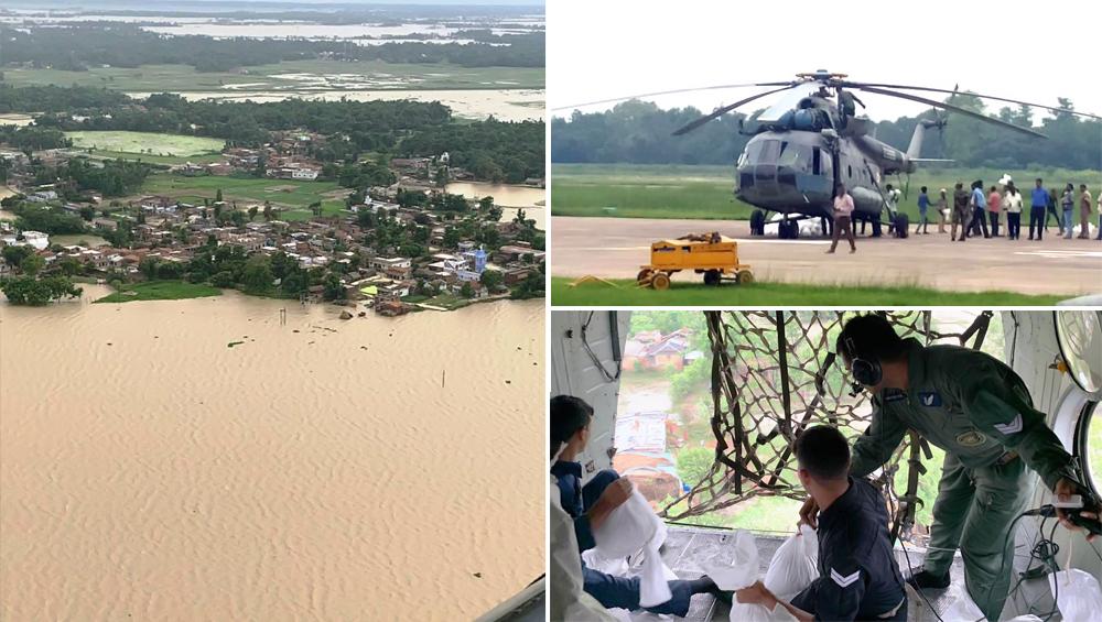 बिहार में बाढ़ से हाहाकार, वायुसेना ने राहत-बचाव के लिए दरभंगा में तैनात किए हेलीकॉप्टर, मौत का आंकड़ा 100 के पार