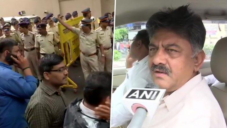 कर्नाटक के बागी विधायकों को मनाने के लिए मुंबई पहुंचे मंत्री डीके शिवकुमार, पुलिस ने होटल में नहीं दी एंट्री