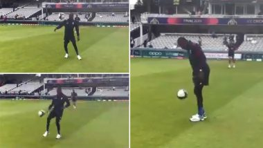 ENG vs NZ, ICC CWC 2019 Final: मैच से पहले फुटबॉल खेलते हुए नजर आए इंग्लैंड के तेज गेंदबाज जोफ्रा आर्चर, देखें वीडियो