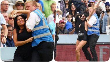 ENG vs NZ, ICC CWC 2019 Final: 'XXX' पोर्न साइट का प्रचार करने अभिनेत्री Elena Vulitsky घुसी मैदान में, पुलिस ने किया ये