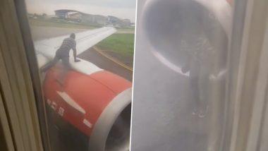 Viral Video: उड़ान भरने से ठीक पहले विमान के विंग पर चढ़ गया एक शख्स, फिर जो हुआ...