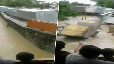 बाढ़ का कहर: मध्यप्रदेश के नीमच में ताश के पत्तों की तरह ढहकर नहर में बह गई दुकानें