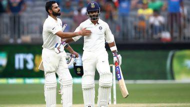 IND vs WI 1st Test: अजिंक्य रहाणे और विराट कोहली की शतकीय साझेदारी, तीसरे दिन स्टंप्स तक भारत का स्कोर 185/3