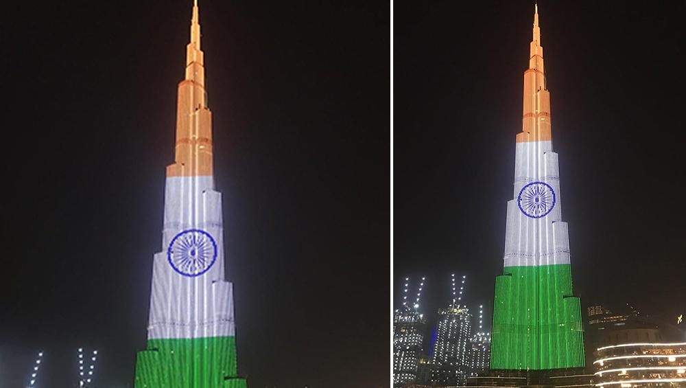 भारतीय तिरंगे के रंग में रंगा दुबई का बुर्ज खलीफा