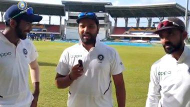 रोहित शर्मा ने पहले टेस्ट के हीरो अजिंक्य रहाणे-जसप्रीत बुमराह का एंकर बनकर किया इंटरव्यू , इस बात का लिया क्रेडिट, देखें वीडियो