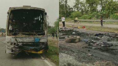 बिहार: मुजफ्फरपुर से सिलीगुड़ी जा रही बस में दुर्घटना के बाद लगी आग, एक की मौत,13 झुलसे
