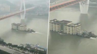 नदी में अचानक तैरने लगी 5 मंजिला बिल्डिंग, जिसने भी देखा वो हैरान रह गया...देखें वीडियो