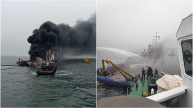 विशाखापट्टनम: समुद्री जहाज में लगी भीषण आग, जान बचाने के लिए पानी में कूदे लोग, देखें Video