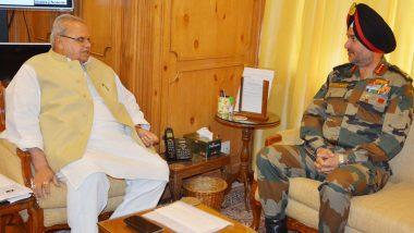 राज्यपाल सत्यपाल मलिक से मिले लेफ्टिनेंट जनरल रणबीर सिंह, कश्मीर के मौजूदा हालात की जानकारी दी