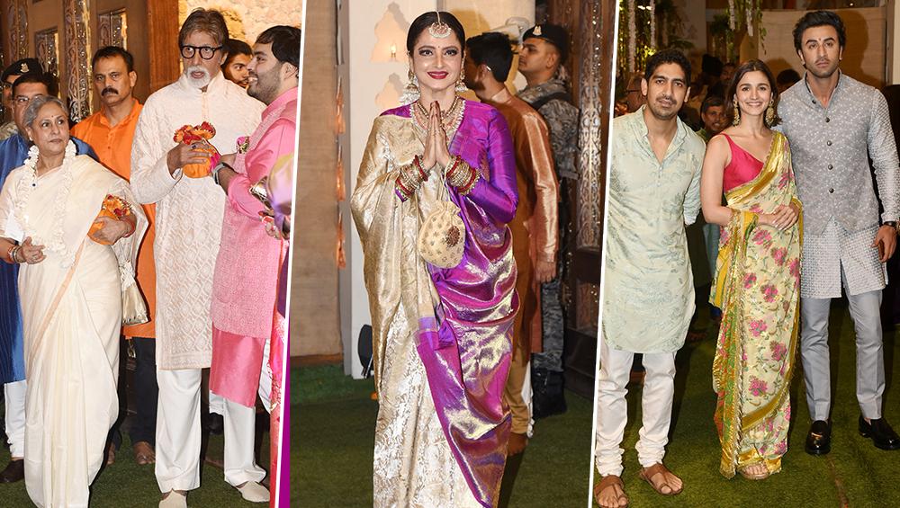 बिजनेस टायकून मुकेश अंबानी के घर विराजे बाप्पा तो अमिताभ बच्चन से लेकर रणबीर कपूर तक बॉलीवुड के तमाम सितारों का लग गया मेला
