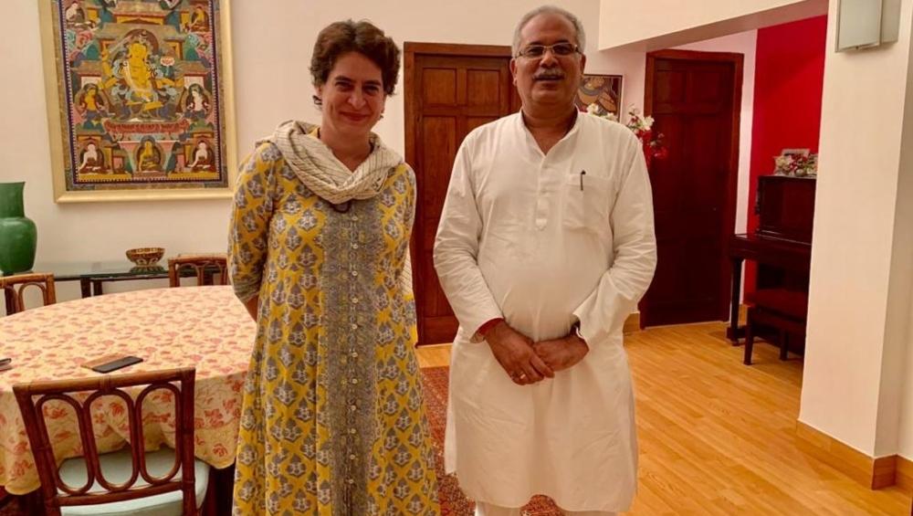 कांग्रेस महासचिव प्रियंका गांधी वाड्रा ने छत्तीसगढ़ के सीएम भूपेश बघेल से की मुलाकात
