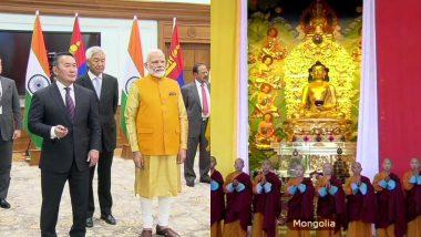 प्रधानमंत्री नरेंद्र मोदी और मंगोलियाई राष्ट्रपति खाल्टमा बटुल्गा ने उलनबटोर स्थित भगवान बुद्ध की मूर्ति का किया अनावरण
