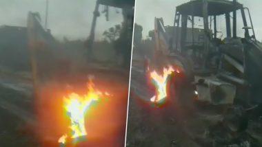 बिहार: गया में नक्सलियों का तांडव, सड़क निर्माण में लगे 2 वाहनों में लगाई आग