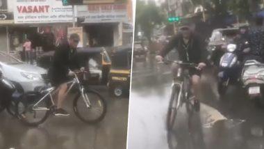 VIDEO: मुंबई की बरसात का मजा लेते दिखे सलमान खान, साइकिल चलाकर 'दबंग 3' के सेट पर पहुंचे