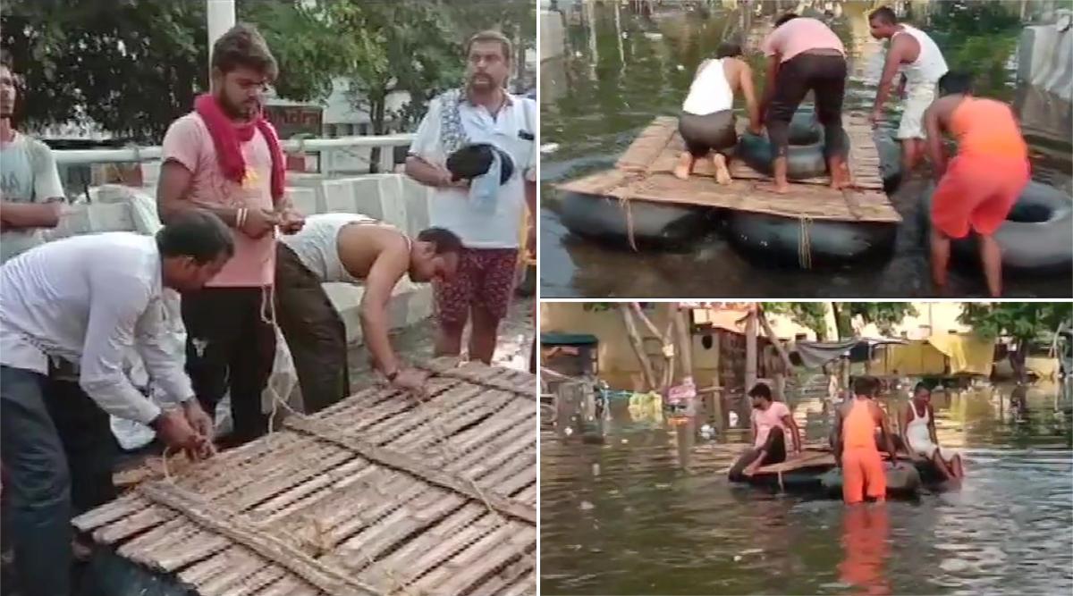 पटना: राजेंद्र नगर में स्थानीय लोगों ने पानी से भरी सड़कों पर यात्रा करने के लिए बनाई बांस की नांव